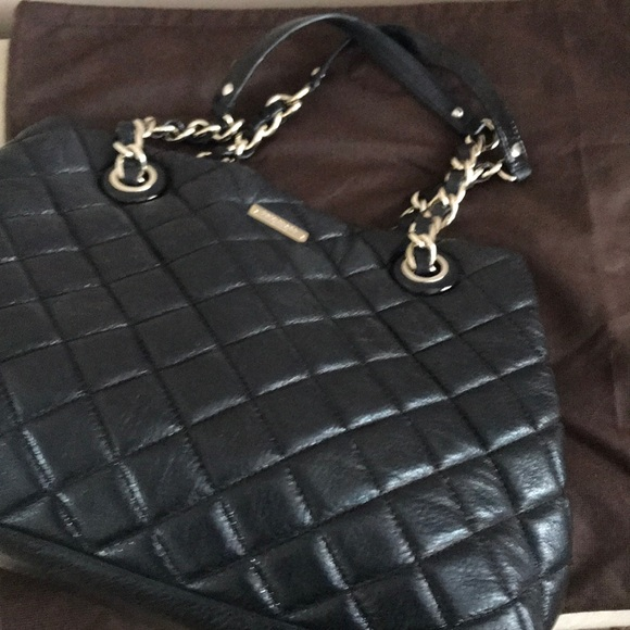 Black Kate Spade quilted bag with gold chain